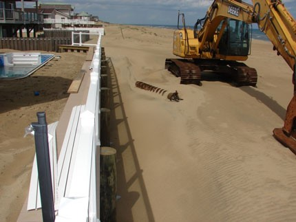 bulldozer moving sand