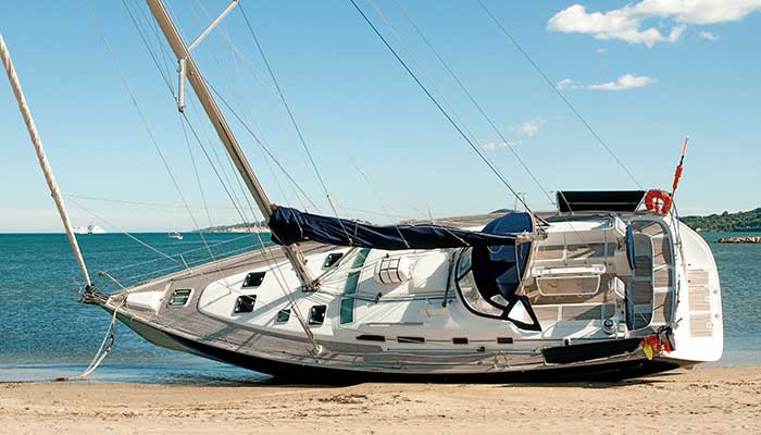 Large-sailboat-stranded-on-the-beach