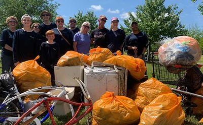 Jim Lang and Team Pulling Trash From Little Neck Creek in Virginia Beach