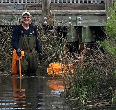 Removing Trash From Creek in Virginia Beach